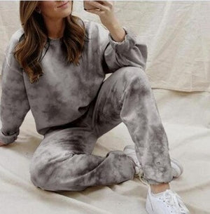Printing Tie-dye Lounge Set Tracksuit Women Two Pieces Fashion Short Hooded & Long Jogging Pants 2 Piece Sweatsuit High Quality