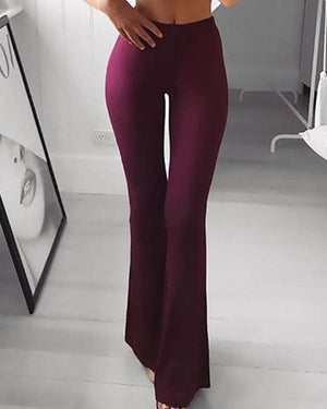 Solid High Waist Bell-Bottom Pants