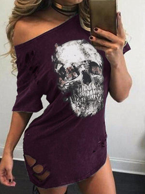 Women's Casual Mid-weight Ripped Sexy Dress