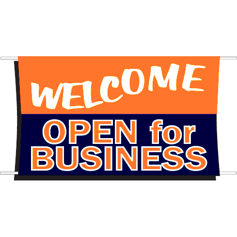 3x5' Welcome Open for Business Advertising Banner