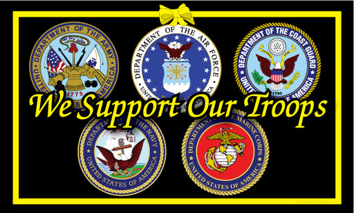 We Support Our Troops - 5 Branches Flag