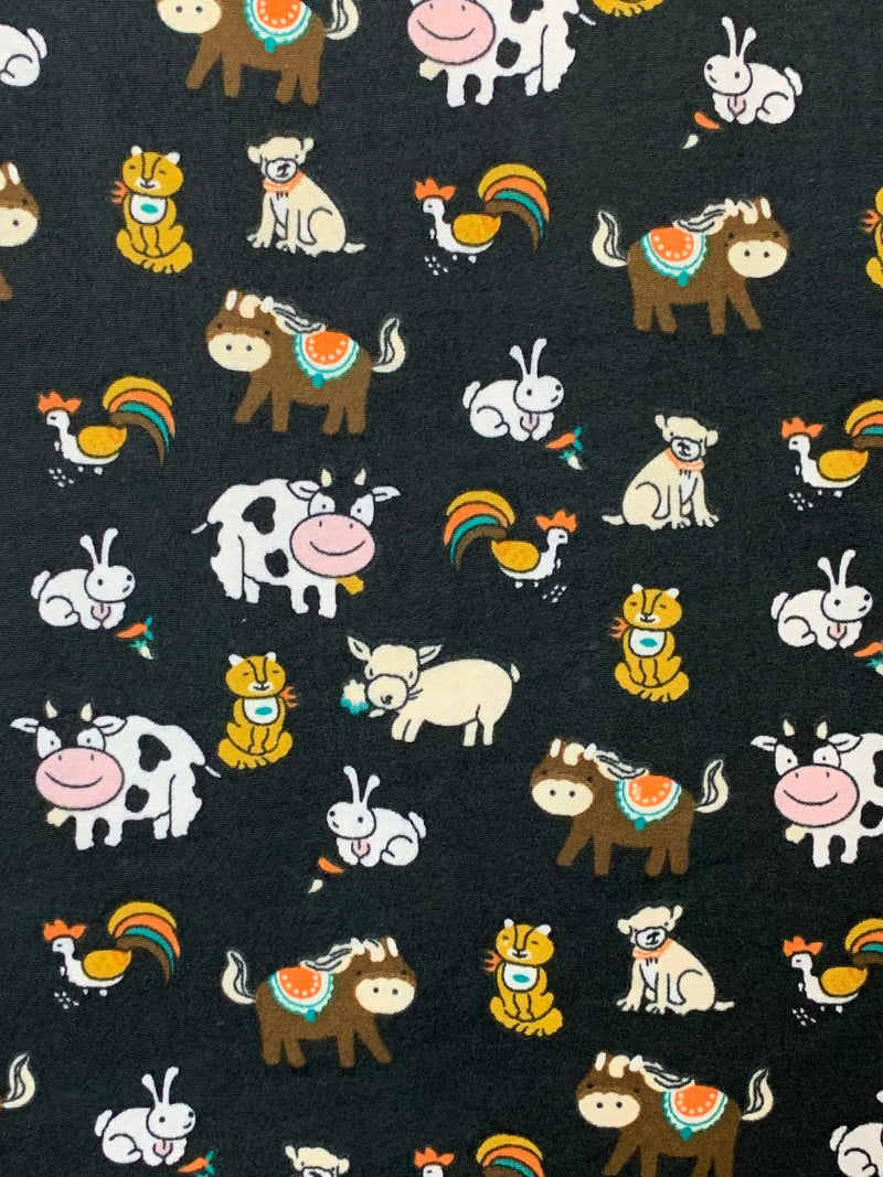 Double Brushed Poly: Black with Farm Animals