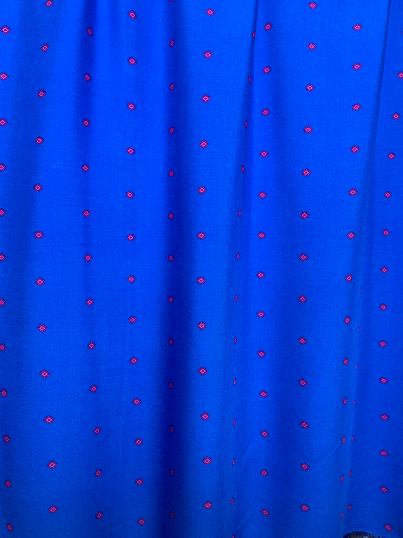 Rayon Challis Fabric: Blue with Diamond Print