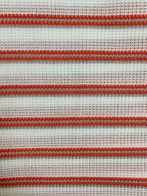 Fabric Piece: Red/Gray Striped White Waffle Knit, 1.75 Yards