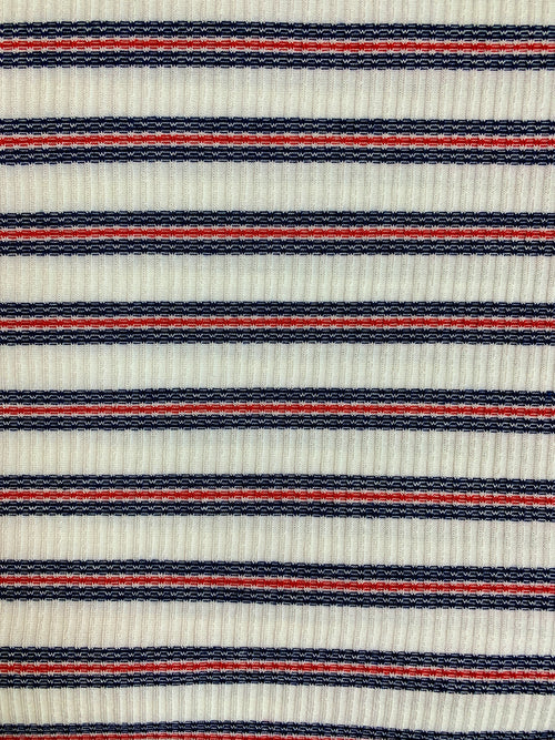 Fabric Piece: Red/White/Blue Stripe Rib Knit, 2.5 Yards