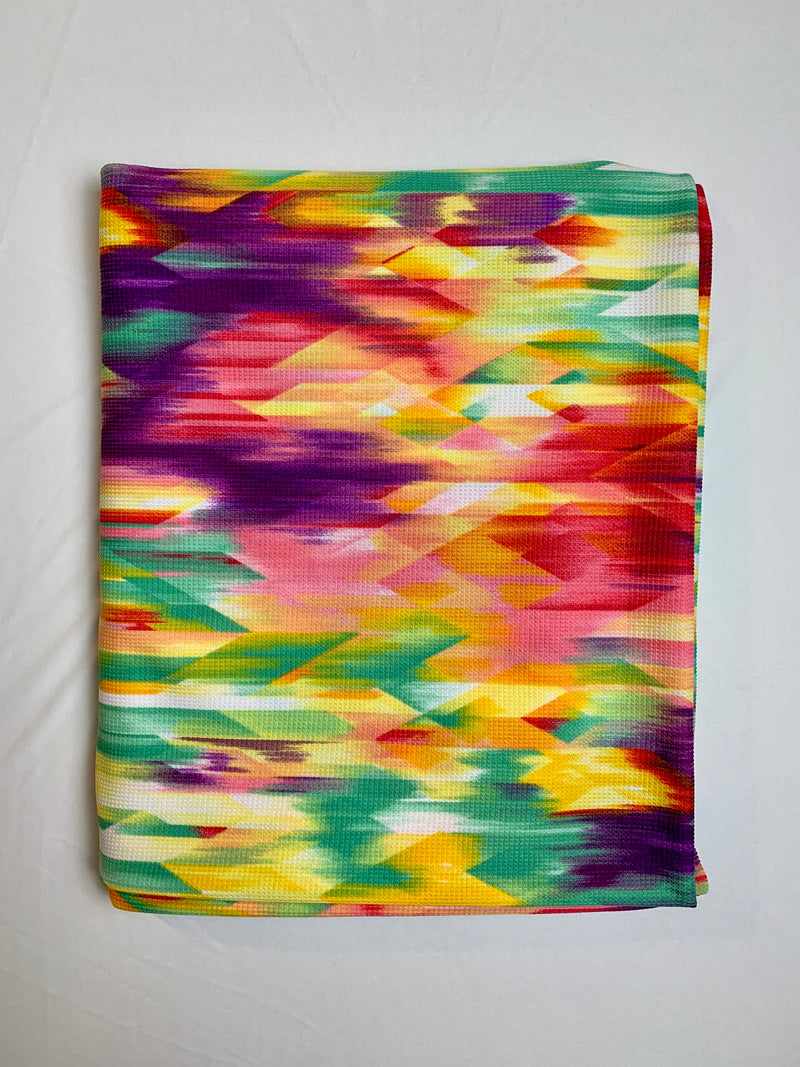 Fabric Piece: Multicolor Brushstroke Thermal Knit, 2.5 Yards