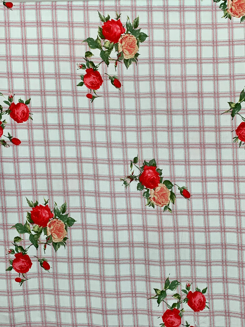 Rayon Challis Fabric: Square Pattern with Roses