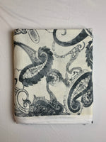 Fabric Piece: Dark Gray/Off-White Paisley Print French Terry, 2.75 Yards