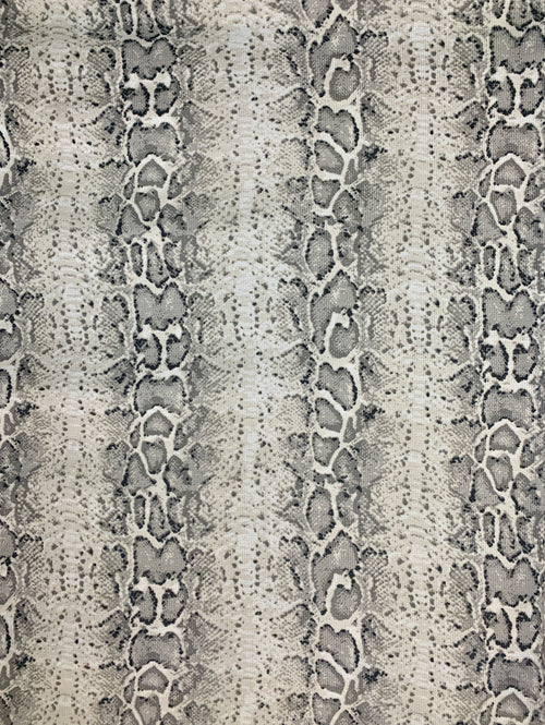 Thermal Knit Fabric: Grey/White Snake Print