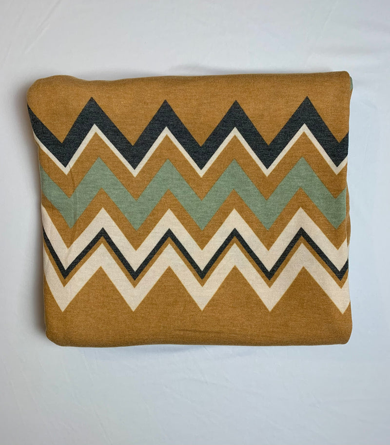 Fabric Piece: Black/Camel Zigzag French Terry, 2.25 Yards