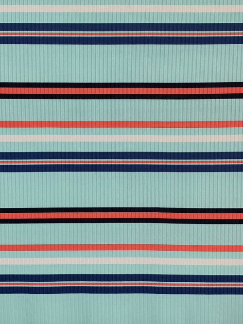 Rib Knit Fabric: Mint with Navy/Coral Stripes