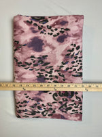 Fabric Piece: Leopard Print on Mauve French Terry, 2.25 Yards