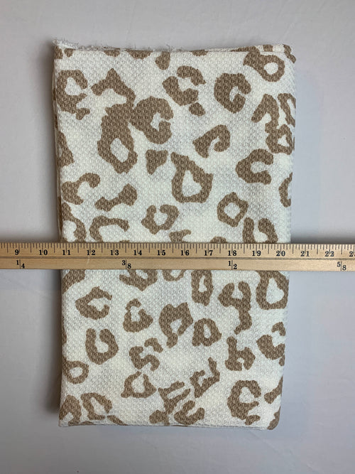 Fabric Piece: Taupe/White Leopard Waffle Knit, 2 Yards