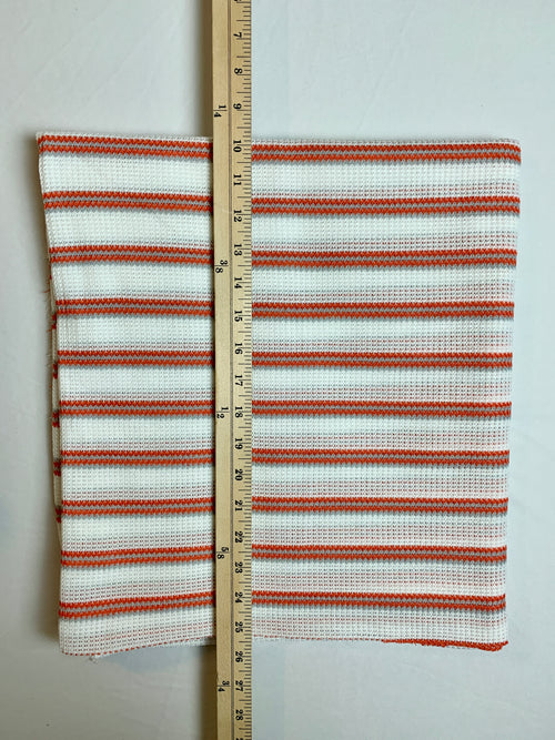 Fabric Piece: Red/Gray Striped White Waffle Knit, 2 Yards