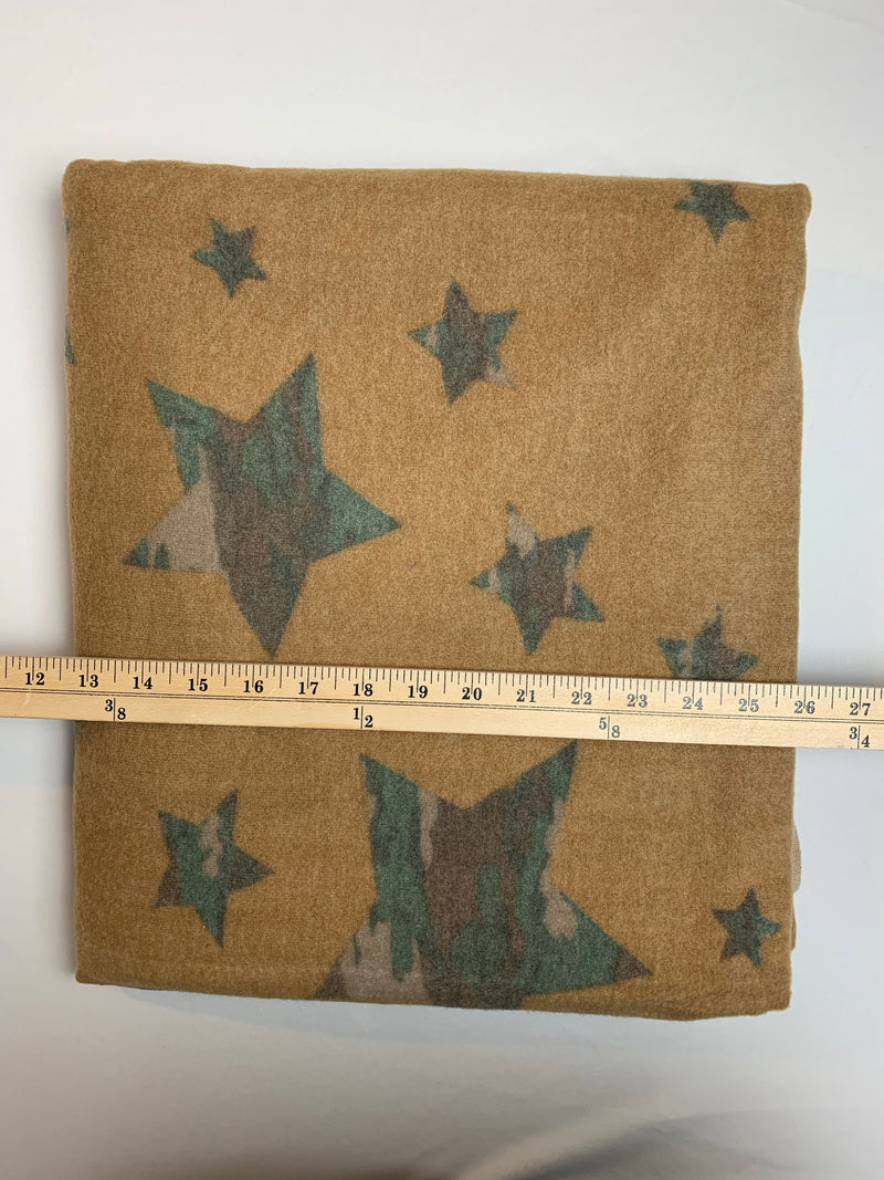 Fabric Piece: Camo Stars on Camel Brushed Sweater Knit, 3.25 Yards
