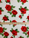 Double Brushed Poly Fabric: White with Red Roses
