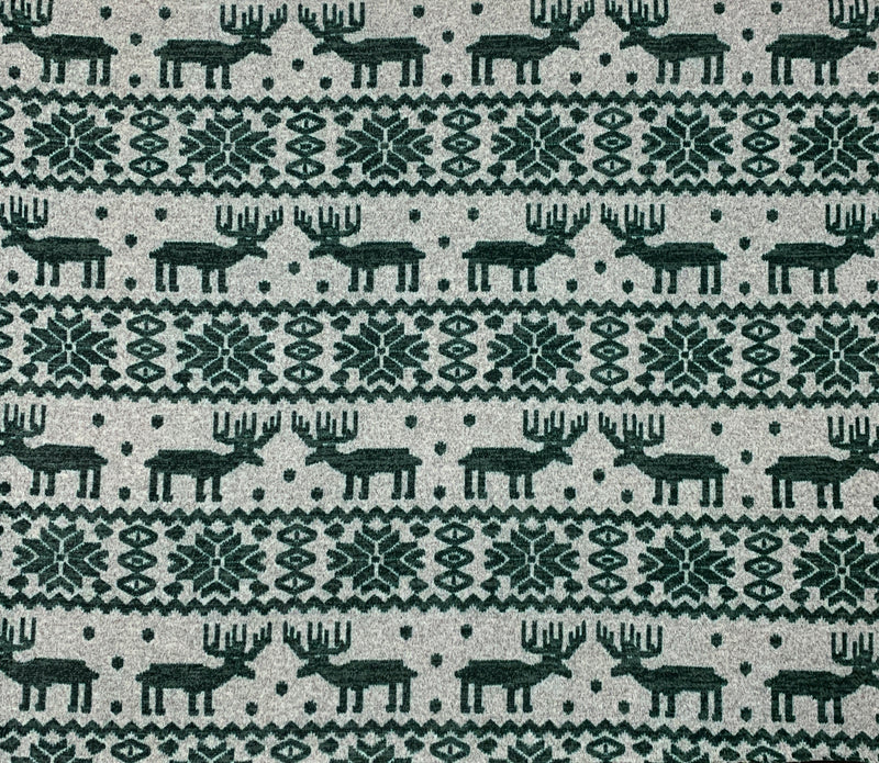 Sweater Knit Christmas Reindeer Fabric: Dark Green/Grey