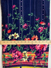 Fabric Piece: Floral Border Print on Navy Rayon Spandex, 3.25 Yards