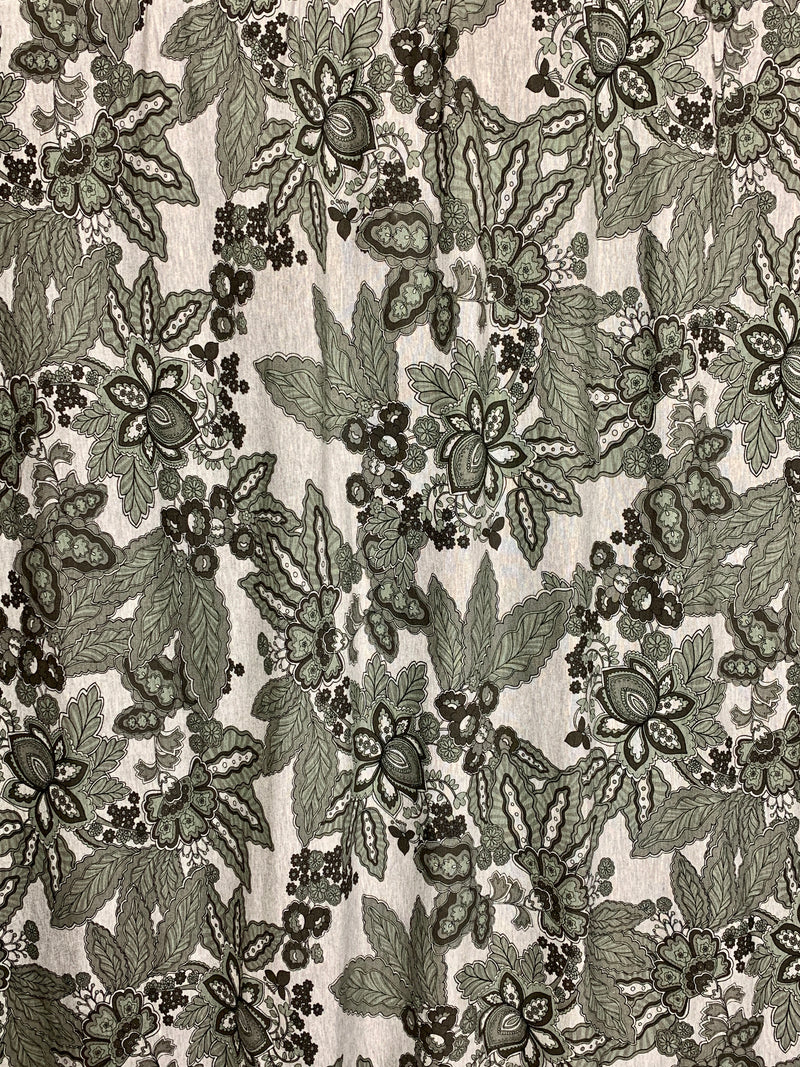 French Terry: Gray Floral Design
