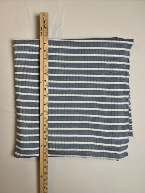 Fabric Piece: Blue-Gray/White Stripe Waffle Knit, 1.75 Yards