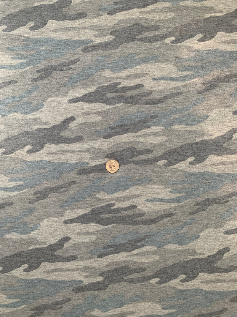 French Terry Camo Fabric: Heather Grey/Black/Blue