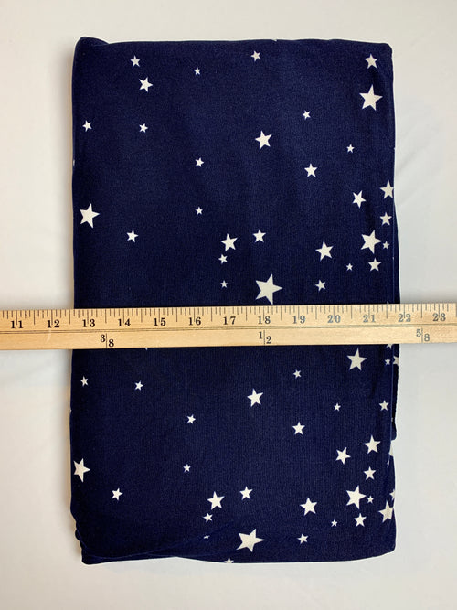 Fabric Piece: White Stars/Blue Double Brushed Poly, 2 Yards