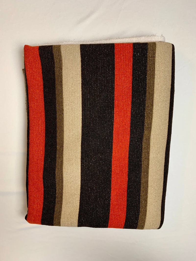 Fabric Piece: Red/Brown Stripe Shimmer Sweater Knit, 2.25 Yards