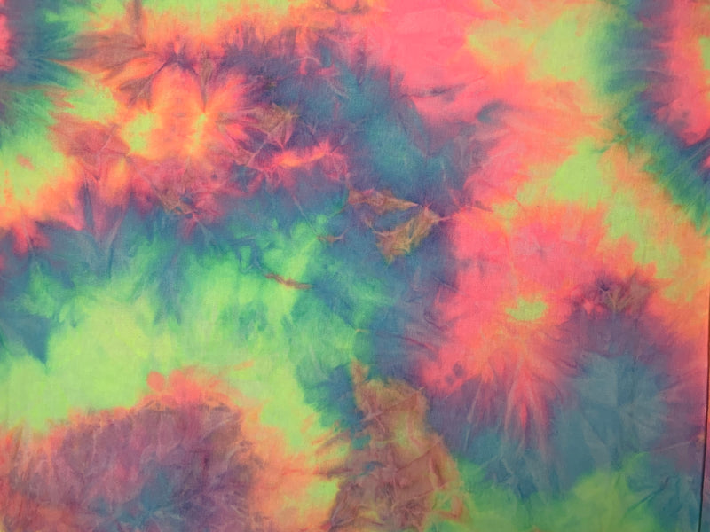 French Terry Fabric Zury Tie-Dye: Blue/Pink/Lime