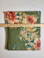Fabric Piece: Olive/Floral French Terry, 1 Yard