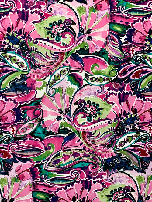 Brushed DTY Fabric: Pink/Green Watercolor Floral