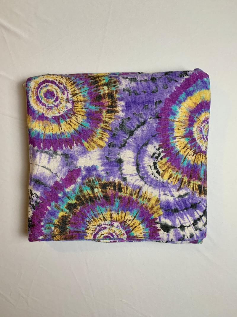 Fabric Piece: Purple/Yellow Spiral Tie-Dye French Terry, 3 Yards
