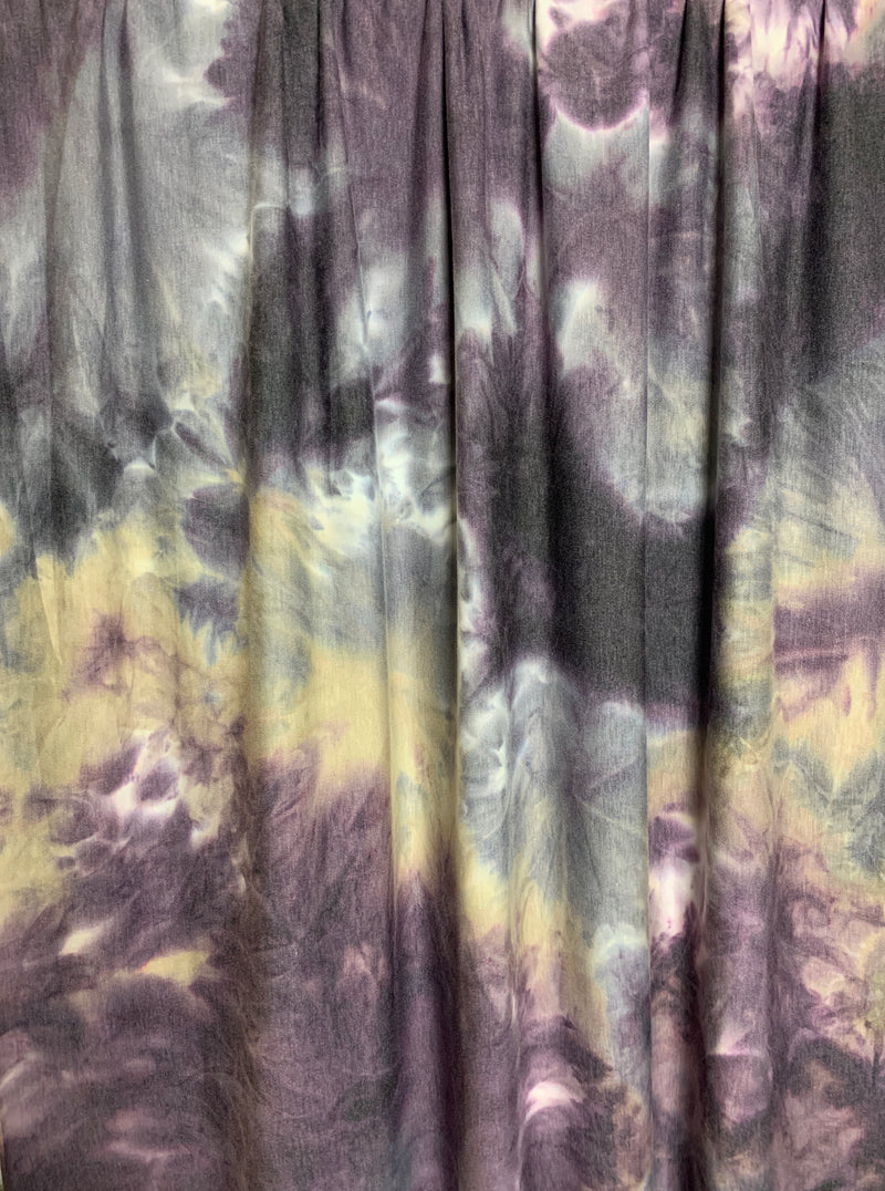 French Terry Tie-Dye Fabric: Violet/Tan