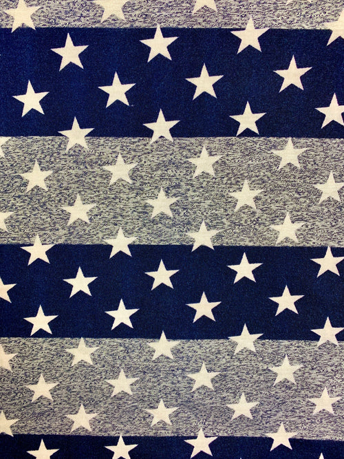 Fabric Piece: White Stars/Blue Stripes Poly Rayon Spandex, 3.25 Yards