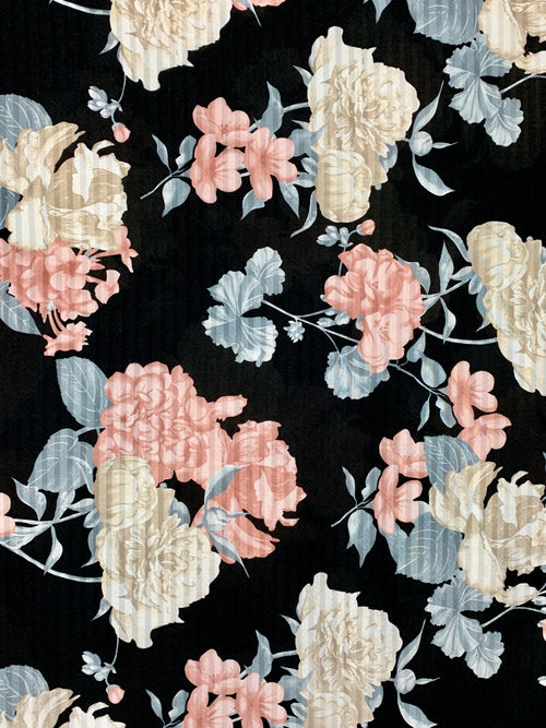 ITY Fabric: Black with Floral Print