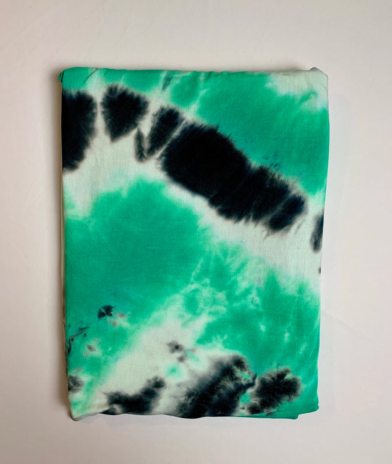 Fabric Piece: Green/Black Tie-Dye Rayon Spandex, 2.5 Yards