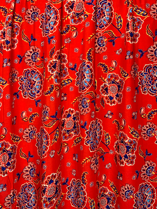 Rayon Challis Fabric: Red Floral Print