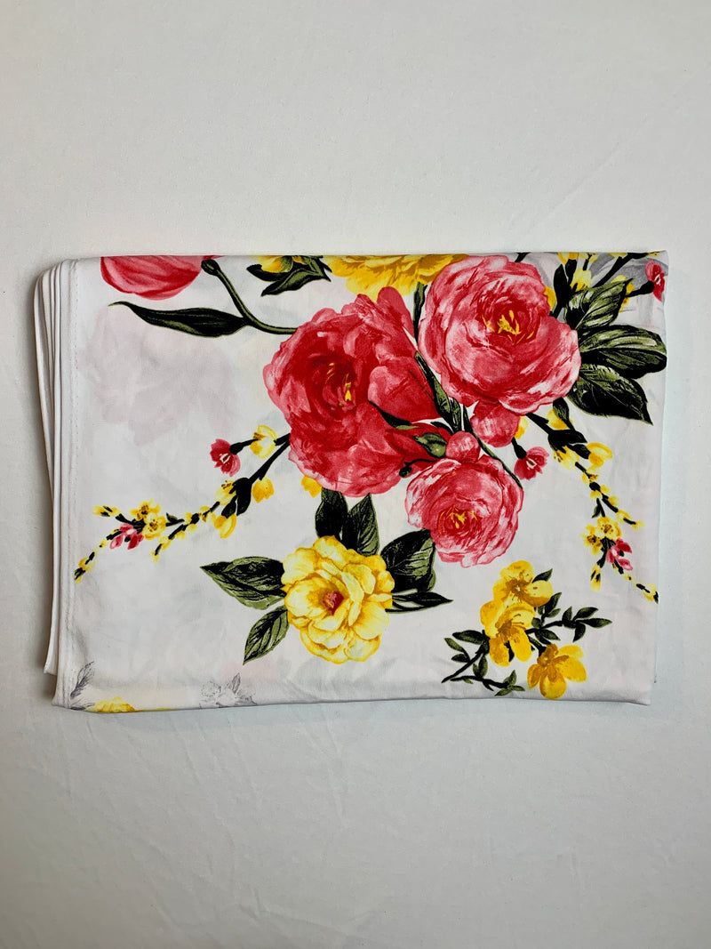 Fabric Piece: Pink/Yellow Flowers on White ITY, 2.25 Yards
