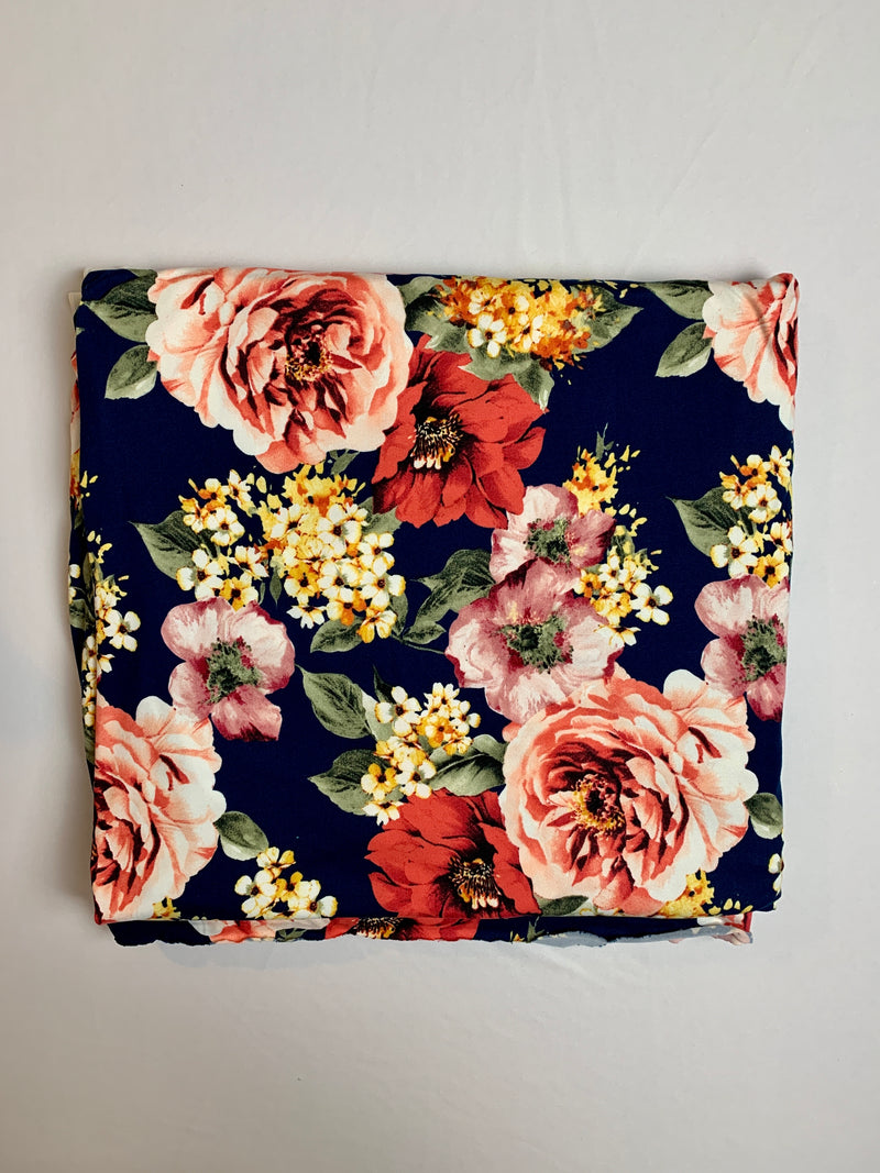 Fabric Piece: Floral on Navy Blue DTY, 3.25 Yards