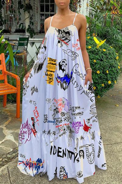 Spaghetti Straps Graffiti Printed Maxi Dress