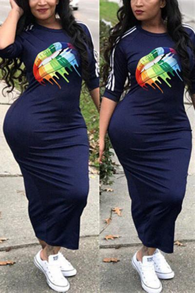 Casual Sporty Striped Multicolor Midi Dress