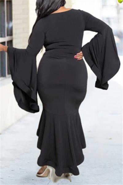 Bat Sleeve Fishtail Maxi Dress