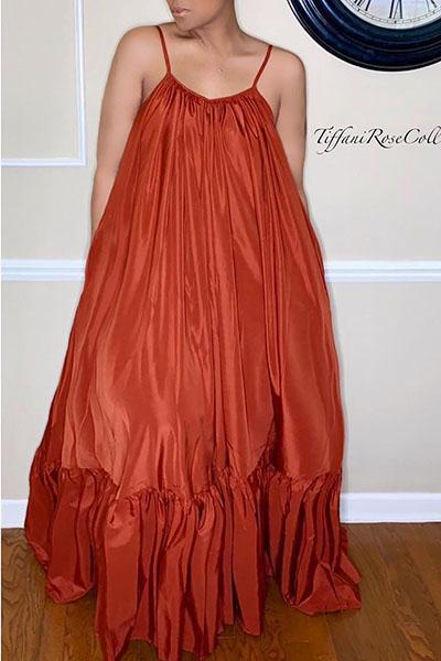 Pure Color Strap Maxi Dress