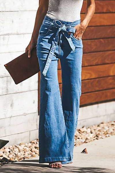 High Waist Belted Jeans