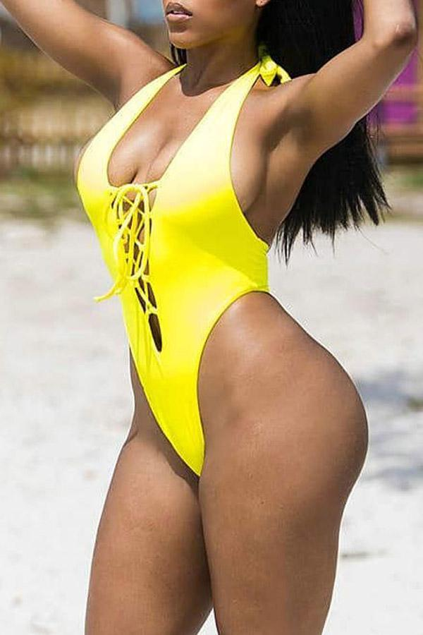 Yellow Backless Swimsuit