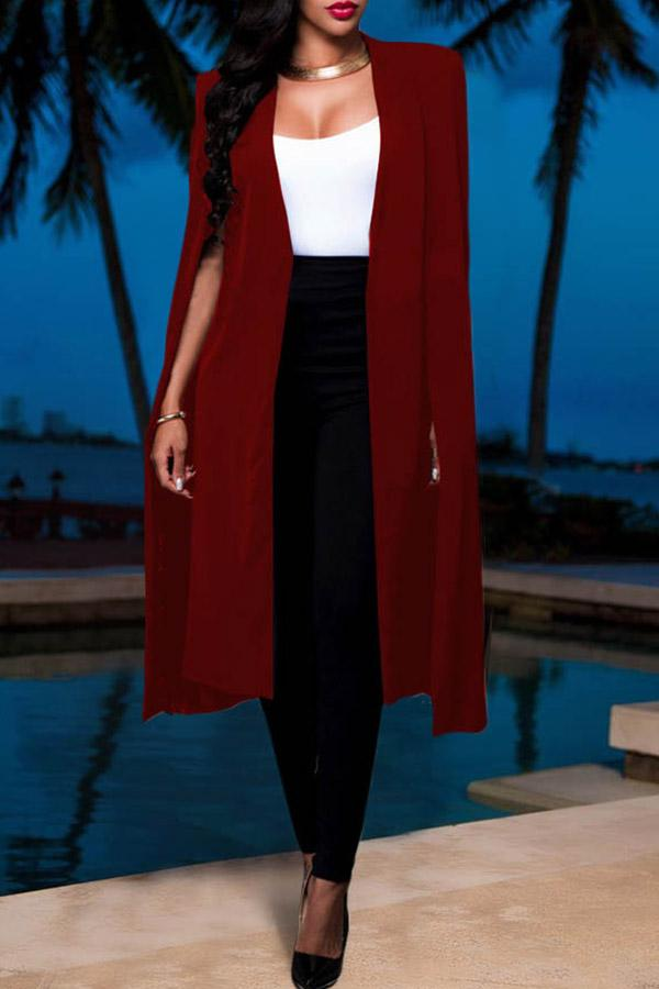 Solid Color Irregular Hem Collarless Coat