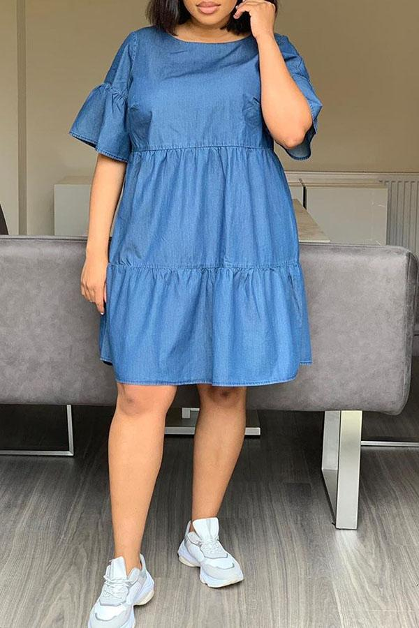 Solid Color Split Loose Jeans Dress