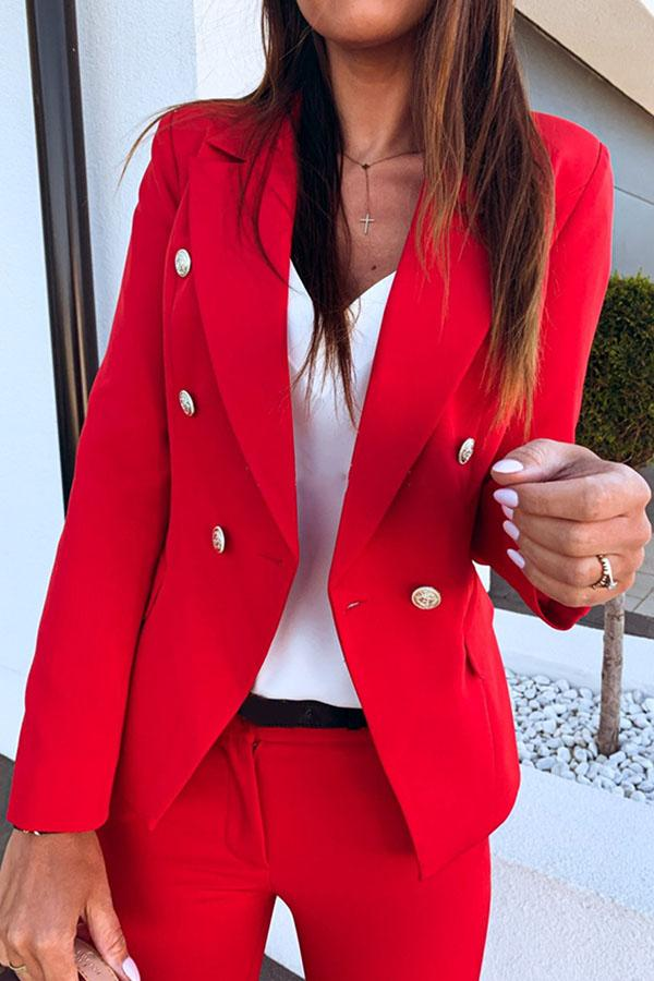 Solid Color Button Lapel Suit