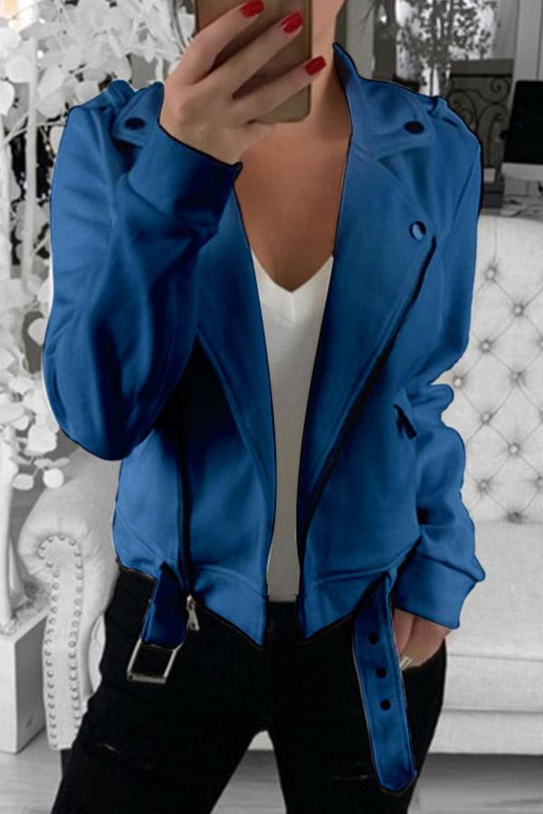 Solid Color Lapel Lace-Up Coat