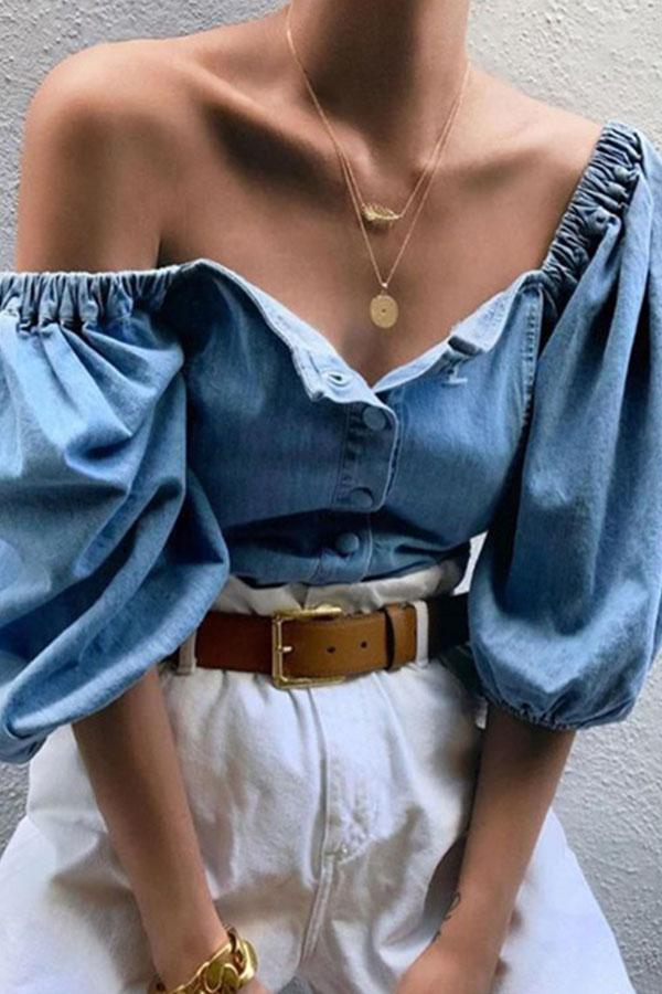 Off Shoulder Lantern Sleeve Denim Shirt