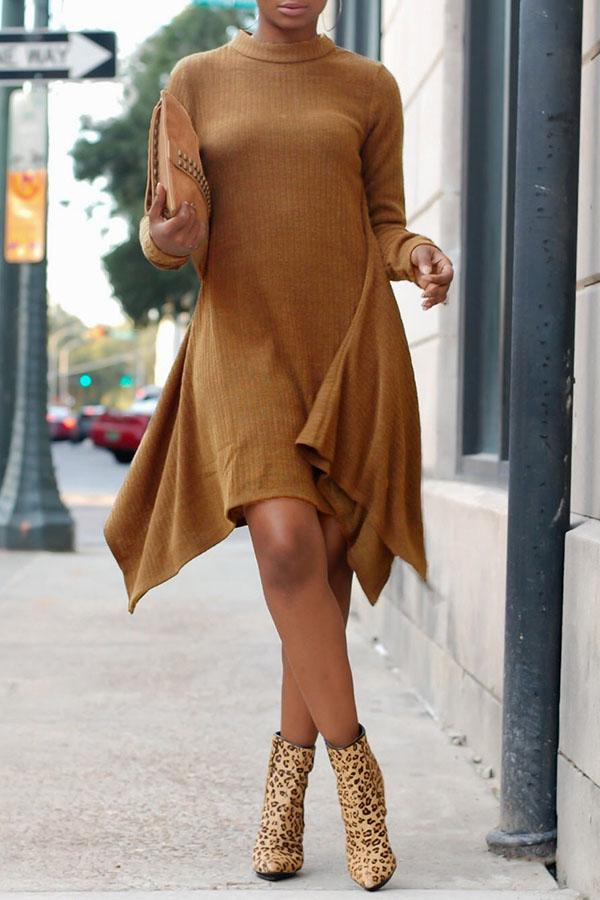 Loose Irregular Long-Sleeved Dress